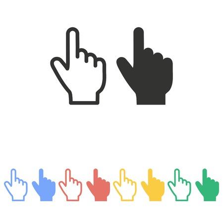 arrow sign: Hand   icon  on white background.  Illustration