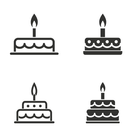Set of simple icons black cake on white background.  イラスト・ベクター素材