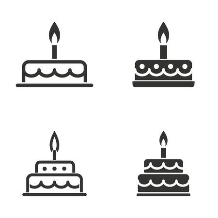 Set of simple icons black cake on white background. Vettoriali