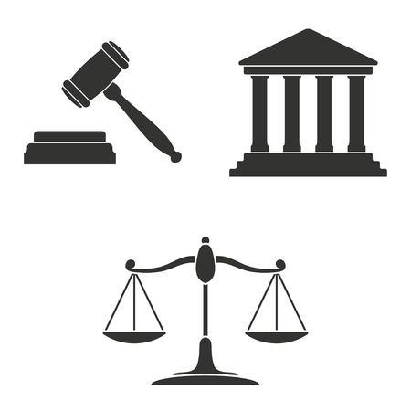tribunal: Set of simple icons black court  on white background.  Illustration