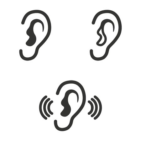 audible: Set of simple icons black ear on white background.