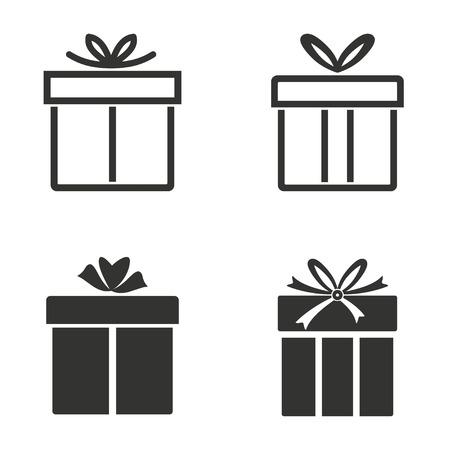 Set of simple icons black Gift Box  on white background.