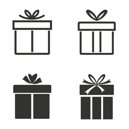 Set of simple icons black Gift Box  on white background.