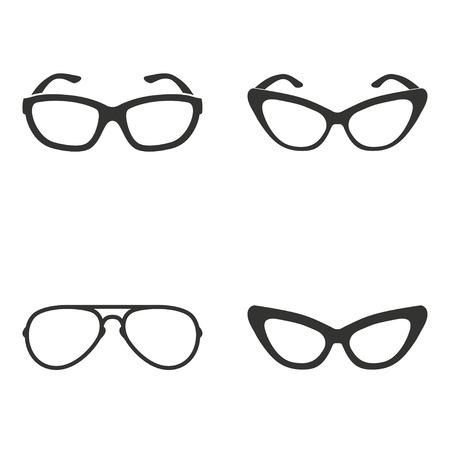 Insieme delle icone semplici occhiali neri su sfondo bianco.