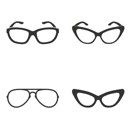 Set of simple icons black glasses on white background.