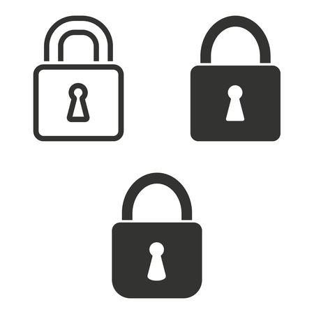 black and white lock: Set of simple icons black lock  on white background.