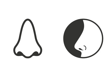 nostril: Set of simple icons black nose   on white background.