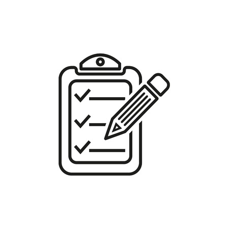 Clipboard pencil  icon  on white background.