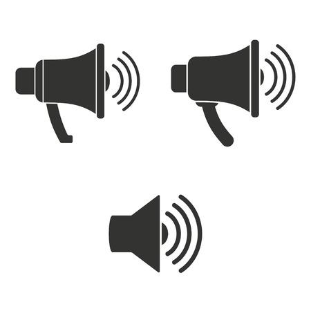 orador: icono del altavoz en el fondo blanco.