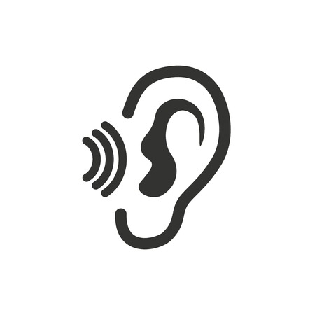 Ear   icon  on white background. Vector illustration. Çizim