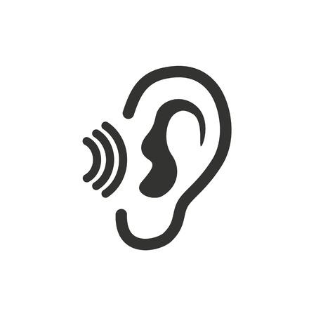 escuchar: Icono del oído sobre fondo blanco. Ilustración del vector. Vectores