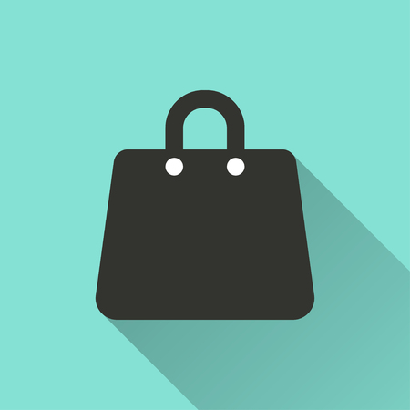 shopping bag icon: Shopping bag  icon  on green background. Vector illustration.