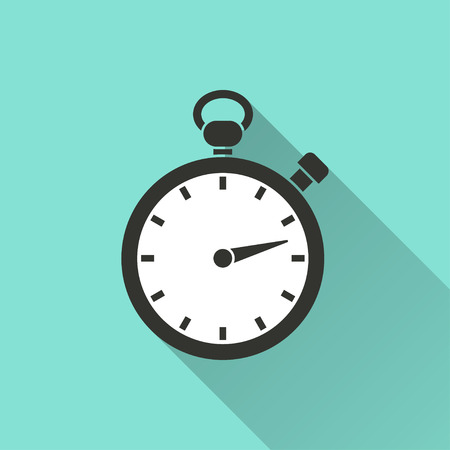 Stopwatch  icon  on green background. Vector illustration. Çizim