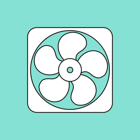 Fan  icon  on green background. Vector illustration.