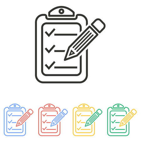 syllabus: Clipboard pencil  icon  on white background. Vector illustration.