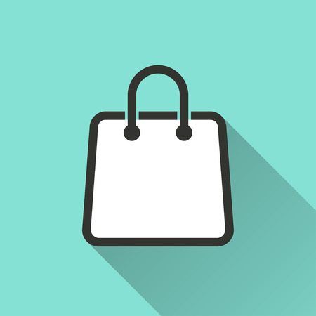 shopping bag icon: Shopping bag  icon with long shadow, flat design. Vector illustration.