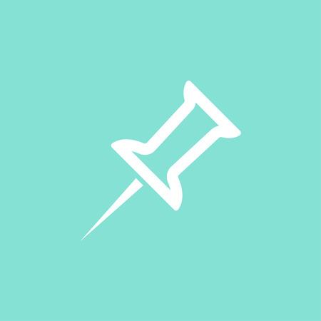 cip: Pushpin  icon  on green background. Vector illustration. Illustration