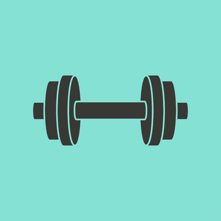Dumbbell  icon  on green background. Vector illustration.