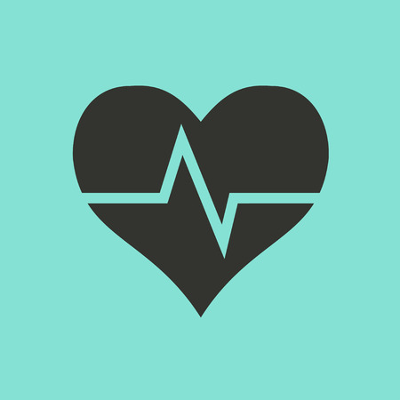 stress test: Heartbeat sign  icon  on green background. Vector illustration. Illustration