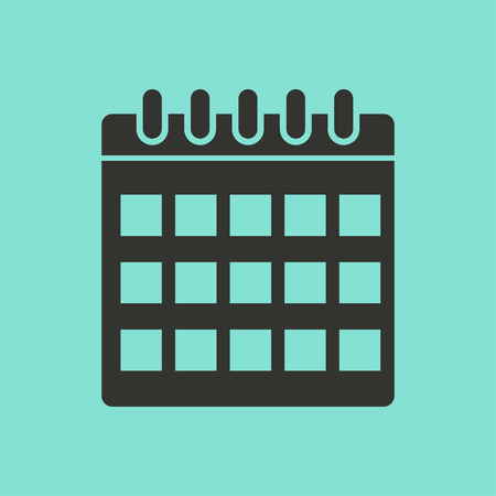 end of the days: Calendar  icon  on green background. Vector illustration.