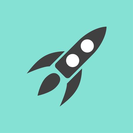 Rocket-Symbol auf grünem Hintergrund. Vektor-Illustration. Standard-Bild - 49282068
