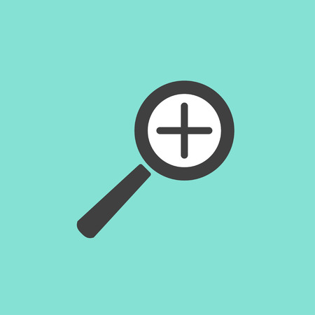 inquire: Search  icon  on green background. Vector illustration.