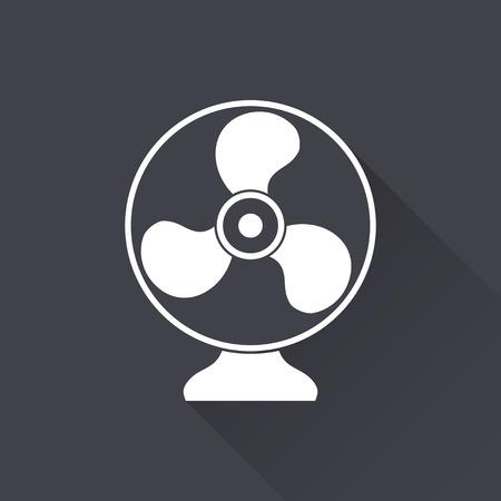 orificio nasal: Fan - icono blanco con una larga sombra sobre un fondo negro. Ilustraci�n del vector. Vectores