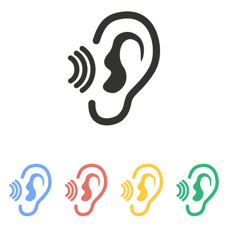 auditory: Ear   icon  on white background. Vector illustration. Illustration