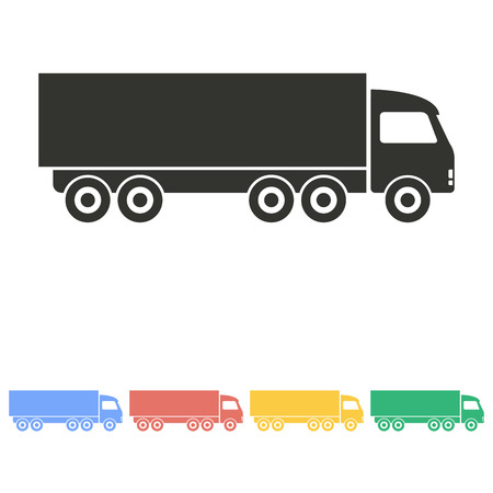 removal van: Truck  icon  on white background. Vector illustration.