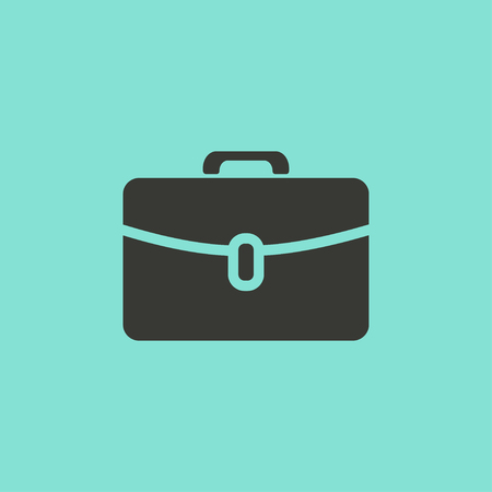 packing suitcase: Portfolio  icon  on green background. Vector illustration.