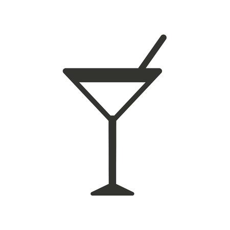 cocteles: icono de cóctel sobre fondo blanco. Ilustración del vector.