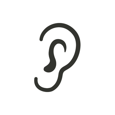 Ear   icon  on white background. Vector illustration. 일러스트