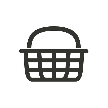 Shopping basket  - vector icon in black on a white background. Stok Fotoğraf - 49686445
