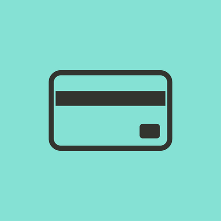financial reward: Credit card  - vector icon in black on a green background.