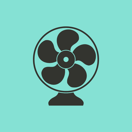 aeration: Fan  - vector icon in black on a green background.