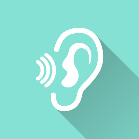 listener: Ear   - vector icon in white on a green background.
