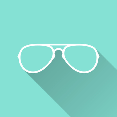Glasses  - vector icon in white on a green background.
