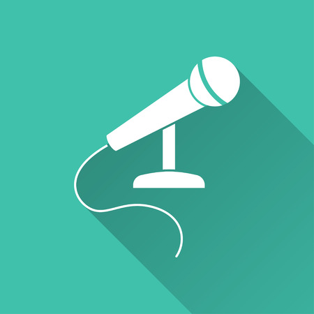 amplification: Microphone  - vector icon in white on a green background.