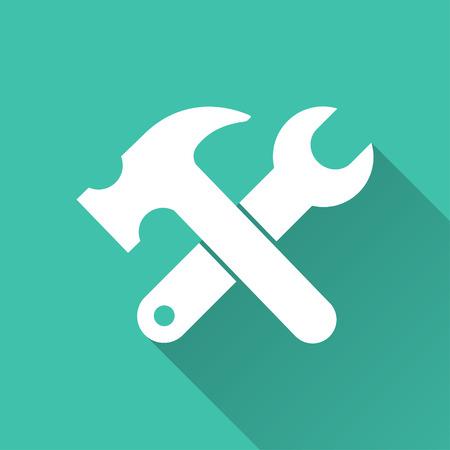 herramientas de construccion: Herramienta - icono de vectores en blanco sobre un fondo verde.