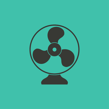black fan: Fan  - vector icon in black on a green background.