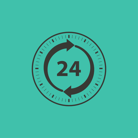 twenty four hours: 24 hour service  - vector icon in black on a green background.