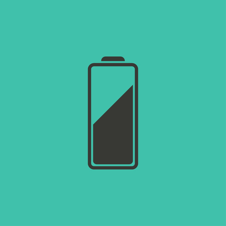 alkaline: Battery  - vector icon in black on a green background.