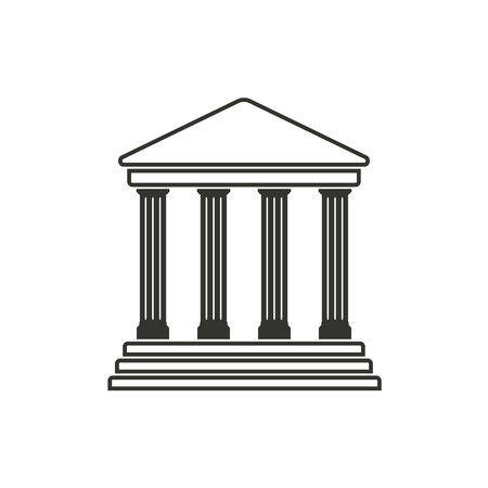 verdicts: Court  icon  on white background. Vector illustration.