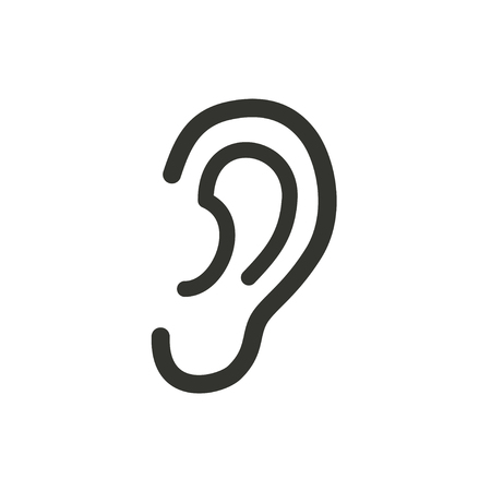 Ear icon on white background. Vector illustration.
