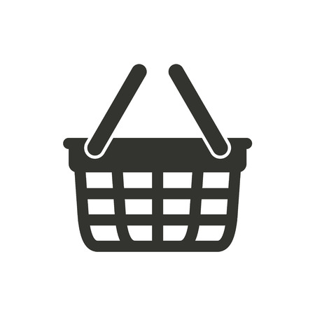 hand basket: Shopping basket  icon  on white background. Vector illustration.