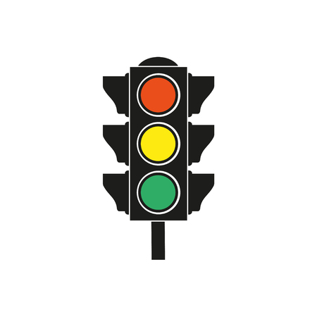 Traffic light  icon  on white background. Vector illustration.  イラスト・ベクター素材