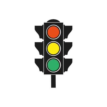 Verkeerslicht pictogram op een witte achtergrond. Vector illustratie. Stock Illustratie