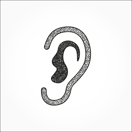 listener: Ear   icon  on white background. Stipple effect. Vector illustration.