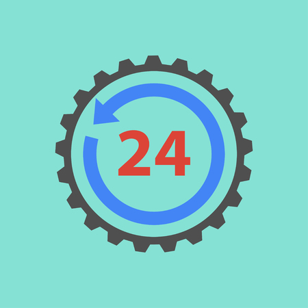 24 hour: 24 hour service  icon  on green background. Vector illustration.