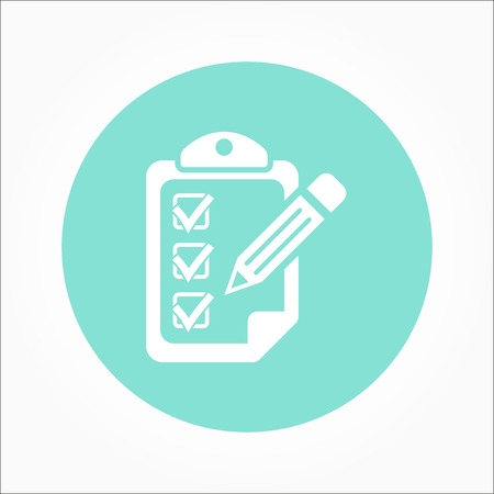 orderly: Clipboard pencil  icon  on green background. Vector illustration.